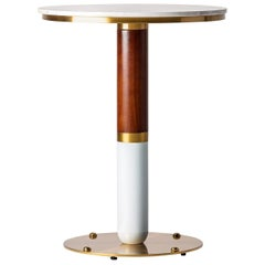 Art Deco Style Round White Marble and Walnut Wooden Pedestal Table