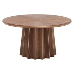 Art Deco Style Round Wooden and Brass Finish Pedestal Table