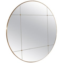 Art Deco Style Rounded Brass Frame paneled smoked glass Mirror, Customizable