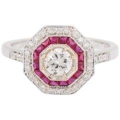 Art Deco Style Rubies Diamonds 18 Karat White Gold Ring