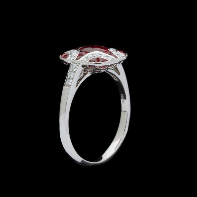 Women's Art Deco Style Ruby and Diamond Platinum Ring For Sale