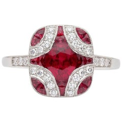 Art Deco Style Ruby and Diamond Platinum Ring