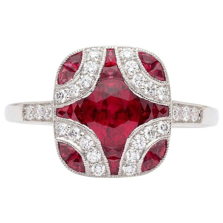 Art Deco Style Ruby and Diamond Platinum Ring For Sale