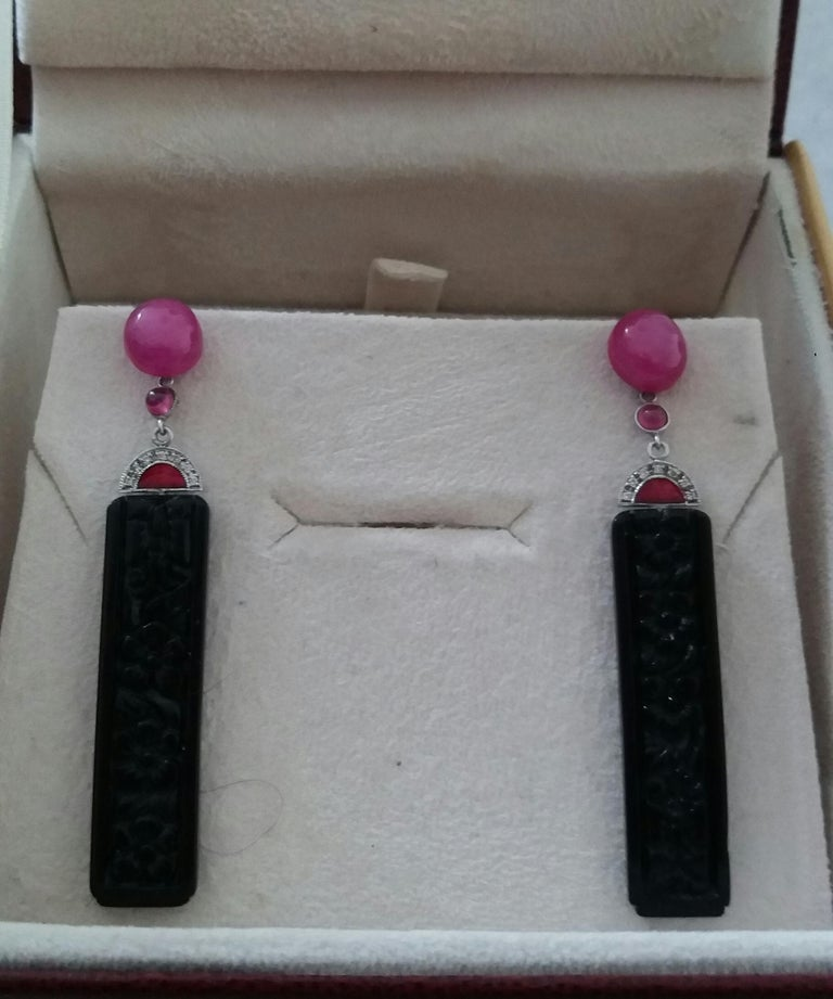 Art Deco Style Ruby Cab Gold Diamonds Red Enamel Carved Black Onyx Bar Earrings For Sale 1