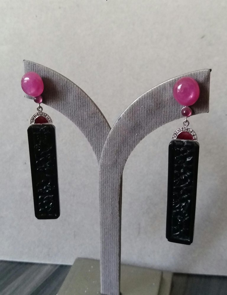 Art Deco Style Ruby Cab Gold Diamonds Red Enamel Carved Black Onyx Bar Earrings For Sale 4