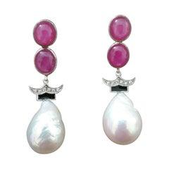 Art Deco Style Ruby Cabs Gold Diamonds Black Enamel Baroque Pearls Earrings