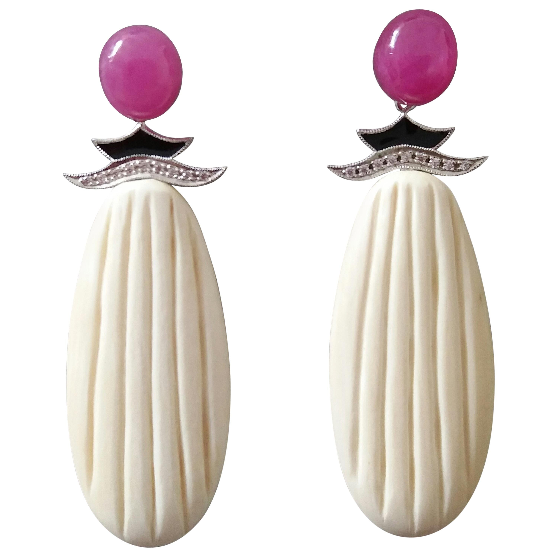 Art Deco Style Ruby Cabs Gold Diamonds Black Enamel Mammoth Bone Drops Earrings
