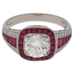 Art Deco Style Ruby Diamond Engagement Ring