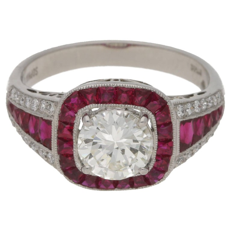 Art Deco Style Ruby Diamond Engagement Ring