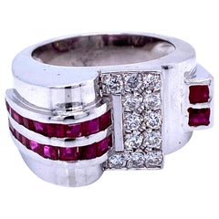 Art Deco Style Ruby Diamond Gold Ring