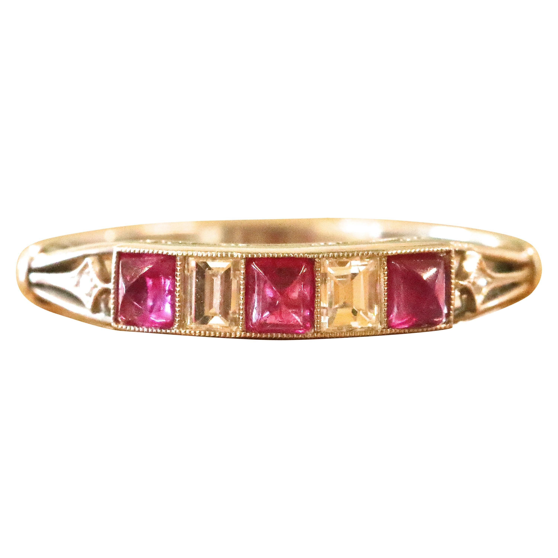 Art Deco Style Ruby Diamond Platinum Ring