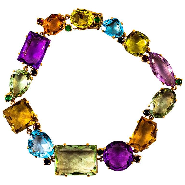 Art Deco Style Ruby Emerald Sapphire Amethyst Citrine Topaz Yellow Gold Bracelet