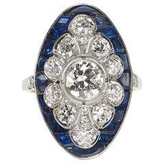 Art Deco Style Sapphire and Diamond Platinum Ring, circa 1990