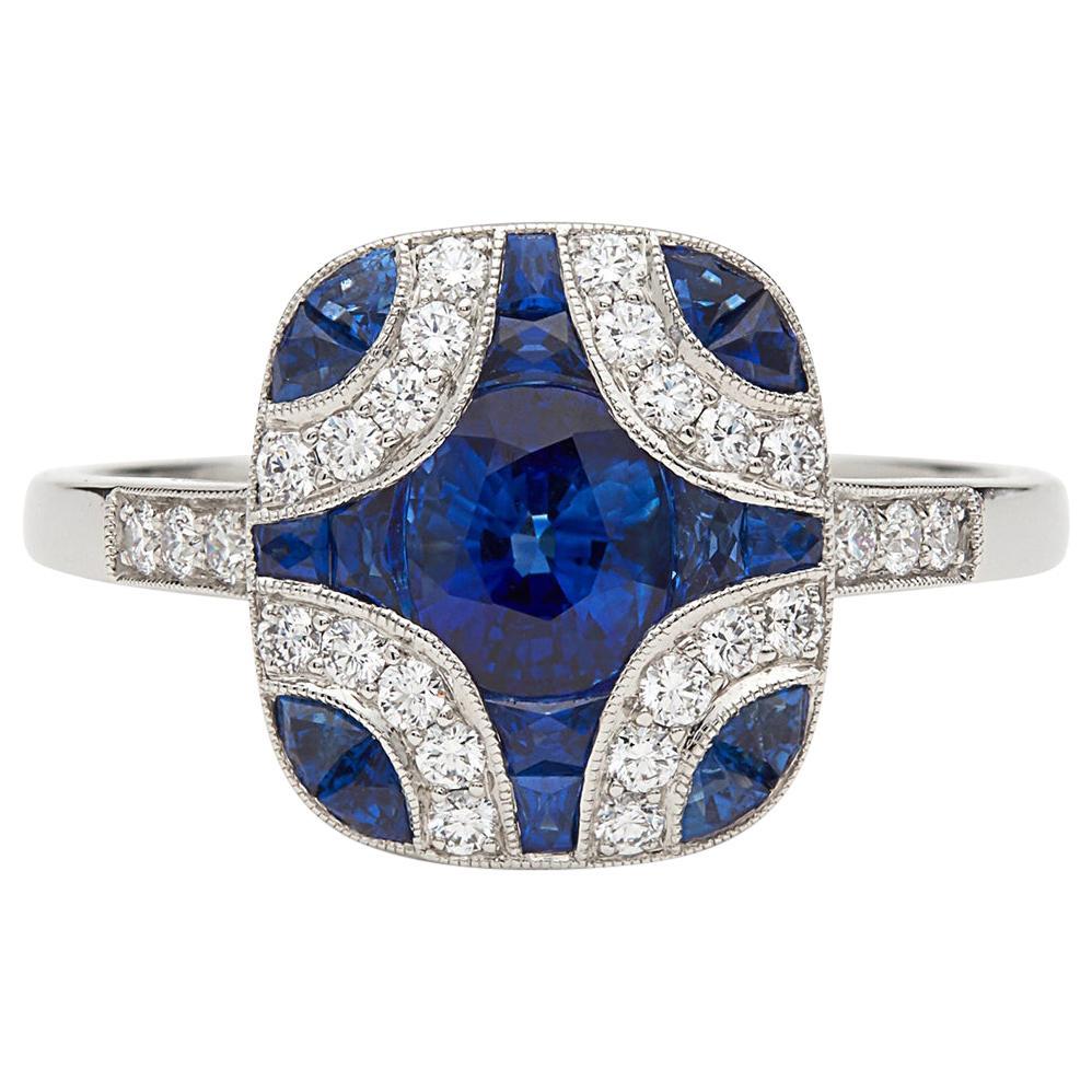 Art Deco Style Sapphire and Diamond Platinum Ring