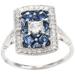 Art Deco Style Sapphire Diamond 18 carat Gold Ring