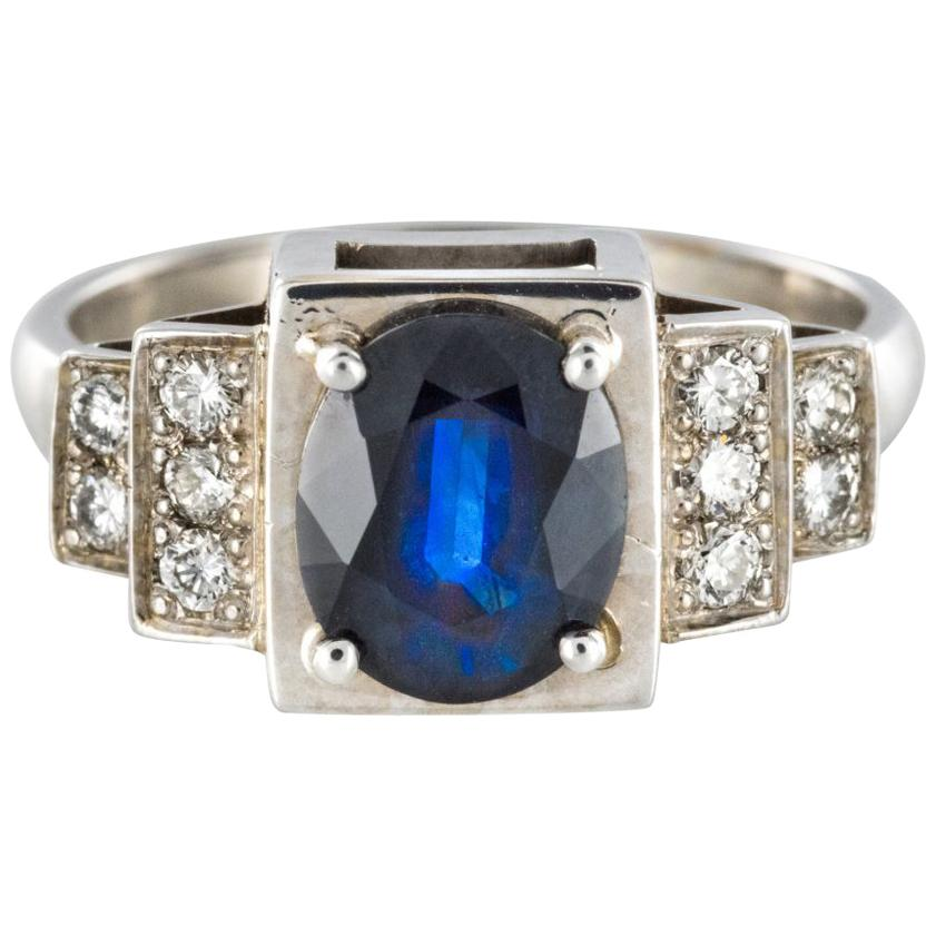 Art Deco Style Sapphire Diamond 18 Karat White Gold Ring