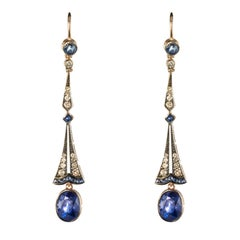 Art Deco Style Sapphire Diamond Dangle Earrings