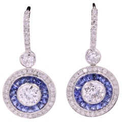 Art Deco Style Sapphire Diamond Drop Earrings 4.15 Carat Platinum