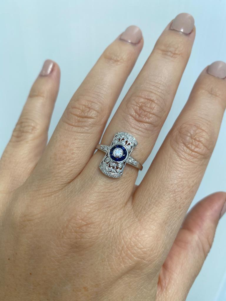 Art Deco Style Sapphire Diamond Engagement Ring Estate Fine Jewelry For Sale 5