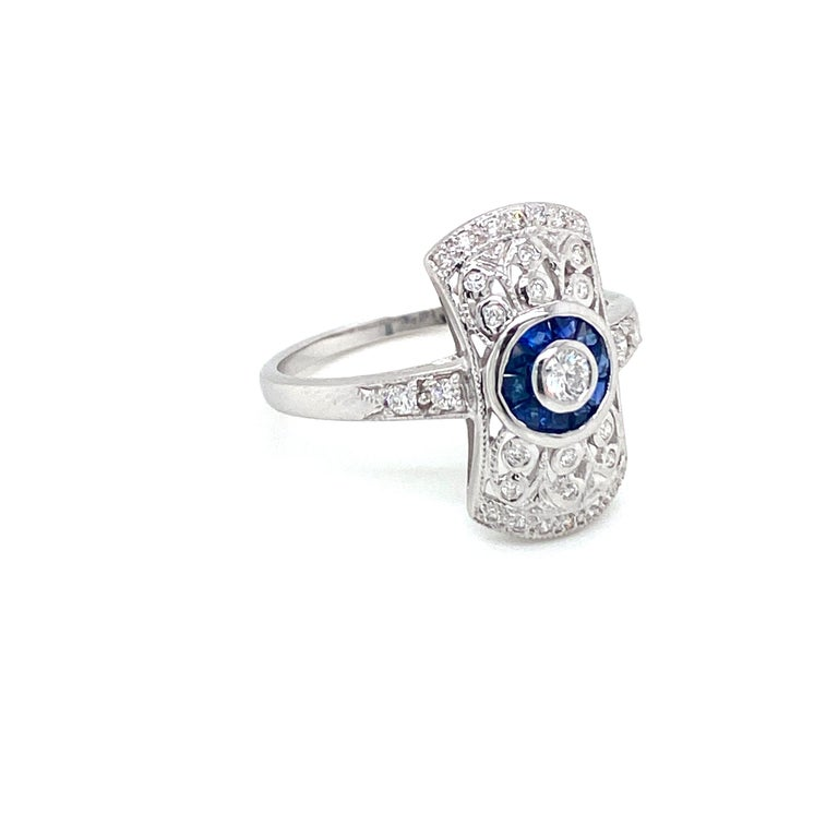 Mixed Cut Art Deco Style Sapphire Diamond Engagement Ring Estate Fine Jewelry For Sale