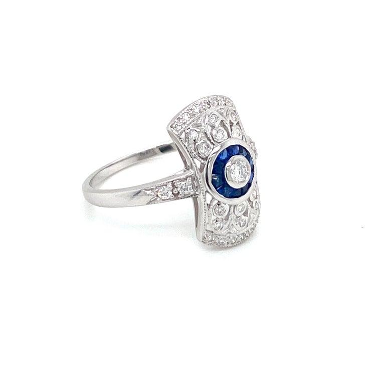 Women's or Men's Art Deco Style Sapphire Diamond Engagement Ring Estate Fine Jewelry For Sale
