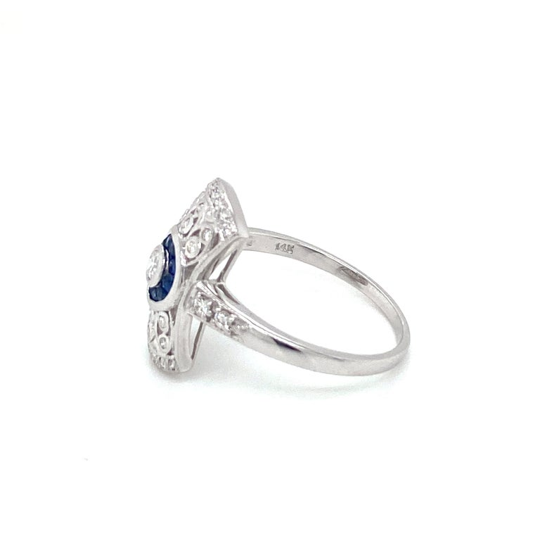Art Deco Style Sapphire Diamond Engagement Ring Estate Fine Jewelry For Sale 1