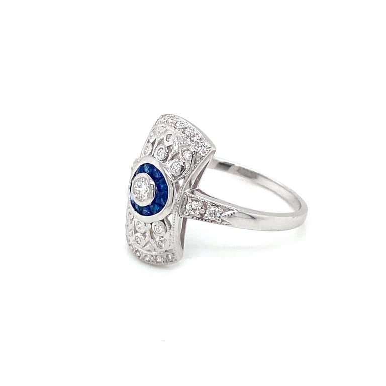 Art Deco Style Sapphire Diamond Engagement Ring Estate Fine Jewelry For Sale 2