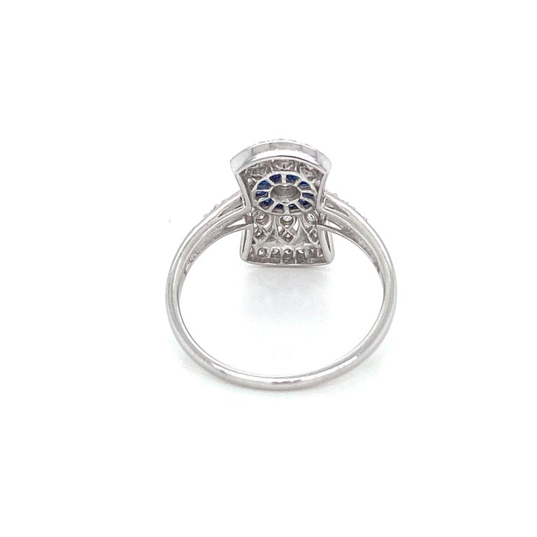 Art Deco Style Sapphire Diamond Engagement Ring Estate Fine Jewelry For Sale 3