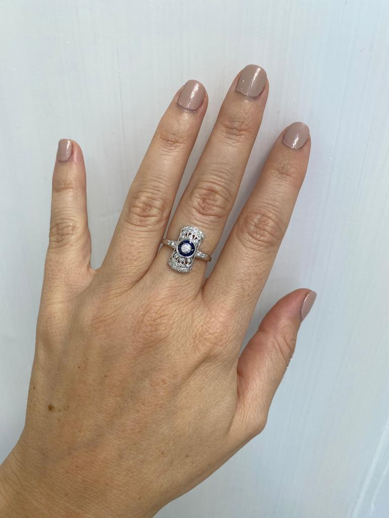 Art Deco Style Sapphire Diamond Engagement Ring Estate Fine Jewelry For Sale 4