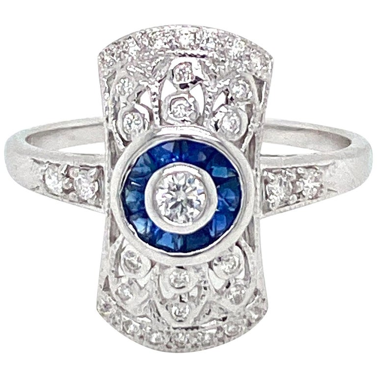 Art Deco Style Sapphire Diamond Engagement Ring Estate Fine Jewelry For Sale