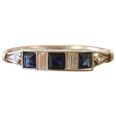 Art Deco Style Sapphire Diamond Platinum Ring