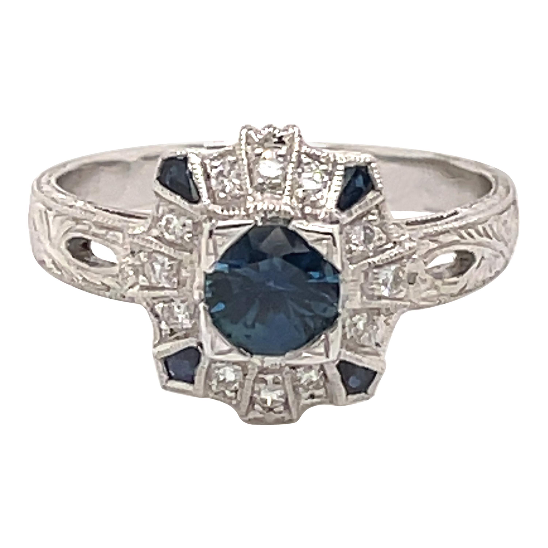 Art Deco Style Sapphire & Diamond Ring 18 Karat White Gold