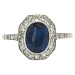 Art Deco Style Sapphire Engagement Ring 1.66 Carat Oval Octagon Diamond Halo