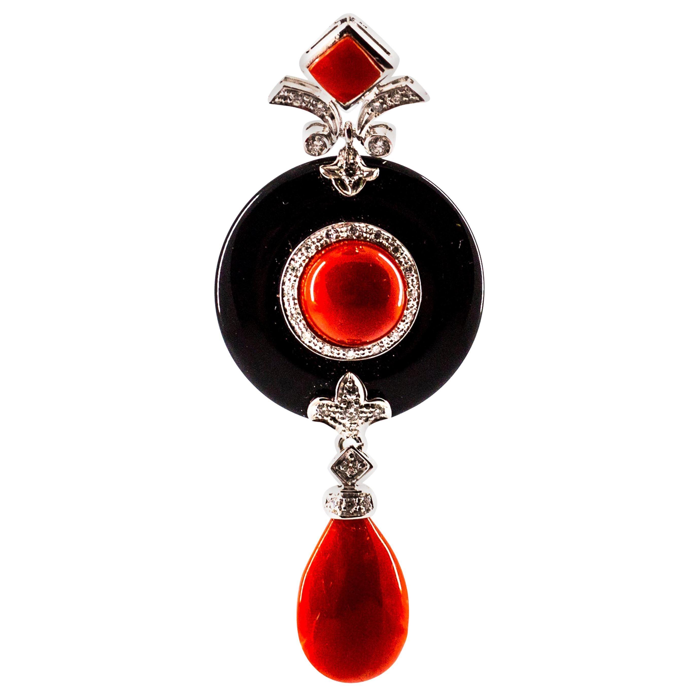 Art Deco Style Sardinia Red Coral White Diamond Onyx White Gold Pendant Necklace