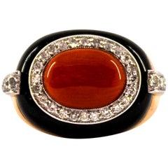 Art Deco Style Sardinia Red Coral White Diamond Onyx Yellow Gold Cocktail Ring