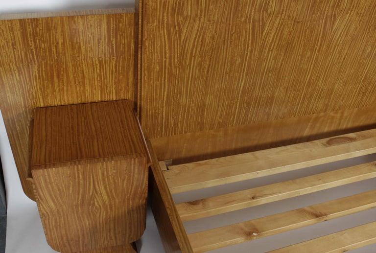 English Art Deco Style Satinwood Bed once belong to Elton John