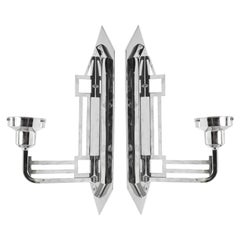 Art Deco Style Sconces in Chrome with Geometric Motif