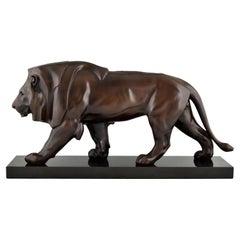 Art Deco Style Sculpture of a Walking Lion by Max Le Verrier, France