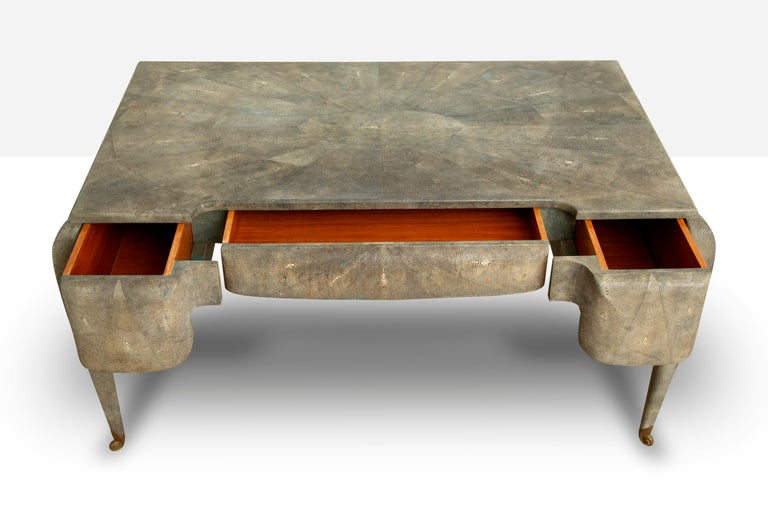 Late 20th Century Art Deco Style Shagreen Desk by Maitland Smith For Sale