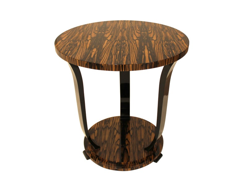 Art Deco inspired side table in stunning White Ebony (or Royal Ebony) veneer and sculptural ebonized legs is fully customizable with various veneers available; size adjustments can be included in customization process. Minimalistic shape of the