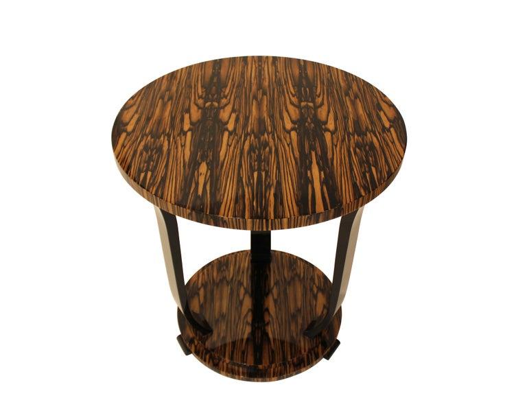 Art Deco Modernist series Round side table in White Ebony Macassar Veneer For Sale