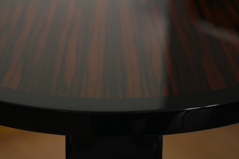 Ebonized Art Deco Style Side Table, Macassar and Black Lacquer For Sale