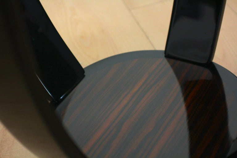 Wood Art Deco Style Side Table, Macassar and Black Lacquer For Sale
