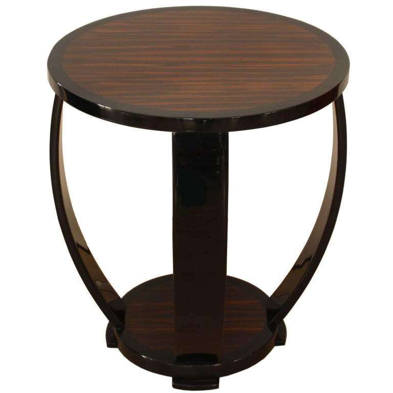 Art Deco Style Side Table, Macassar and Black Lacquer For Sale