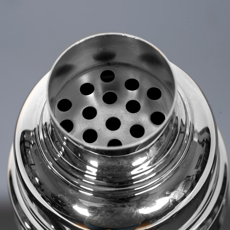 Late 20th Century Art Deco Style Silver Plate Cocktail Shaker by Christofle For Sale