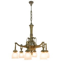 Art Deco Style Six-Light Bronze and Frosted Glass Chandelier, 1920s