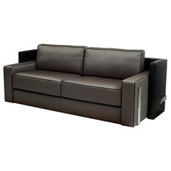 Art Deco Style Sofa with Leather Back and Polished Steel Details, Available Now