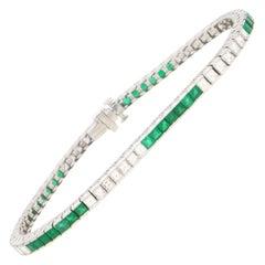 Art Deco Style Square Cut Emerald and Diamond Line / Tennis Bracelet in Platinum