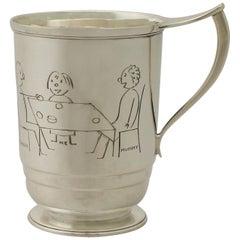 Art Deco Style Sterling Silver Christening Mug