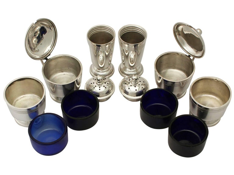 English Art Deco Style Sterling Silver Condiment Set For Sale